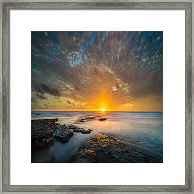 Seaside Sunset - Square Framed Print by Larry Marshall