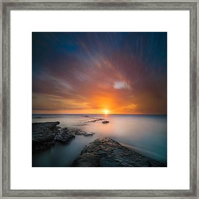 Seaside Sunset 2- Square Framed Print by Larry Marshall