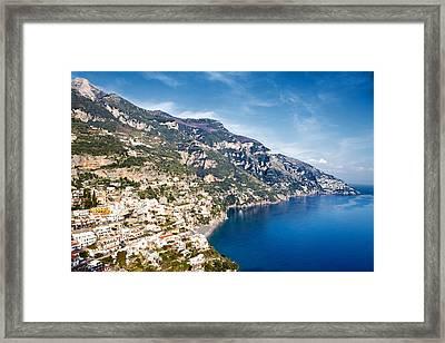 Seaside Town On The Amalfi Coast Framed Print by Susan Schmitz