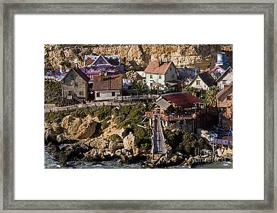 Seaside Village Under The Cliffs, Malta Framed Print