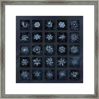 Framed Print featuring the photograph Snowflake Collage - Season 2013 Dark Crystals by Alexey Kljatov