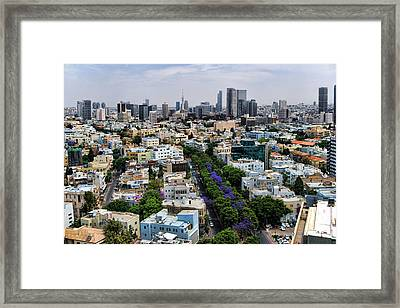 Framed Print featuring the photograph season change at Rothschild boulevard  by Ron Shoshani