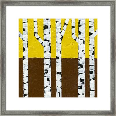 Seasonal Birches - Fall Framed Print by Michelle Calkins