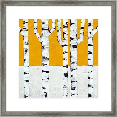 Seasonal Birches - Winter Framed Print by Michelle Calkins
