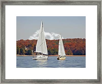 Seasonal Sailing Framed Print by Susan Leggett