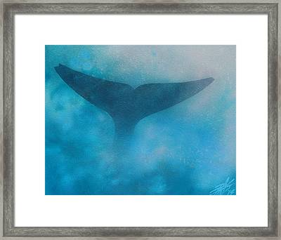 Seasoned Or Blue Whale Fluke Framed Print