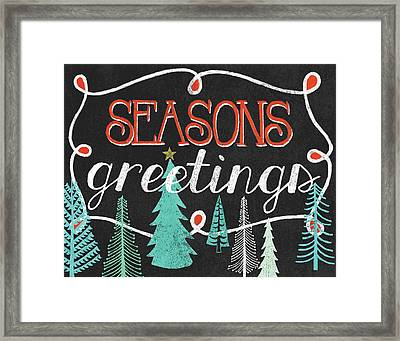 Seasons Greetings Black Framed Print by Mary Urban