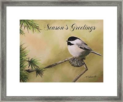 Season's Greetings Chickadee Framed Print