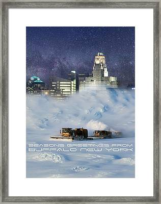 Seasons Greetings From Buffalo Framed Print by Peter Chilelli