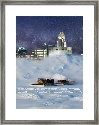Seasons Greetings From Buffalo Framed Print