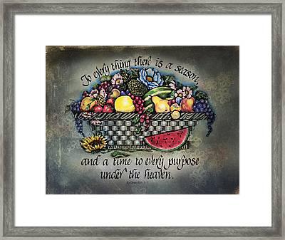 Seasons Scripture Framed Print by La Rae  Roberts