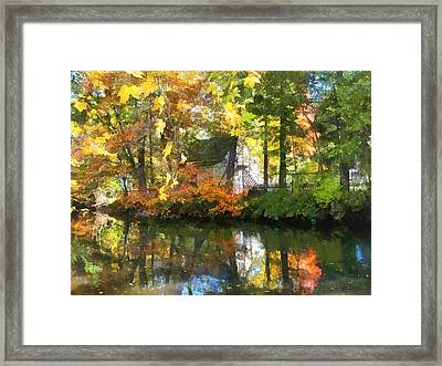 Seasons - White House By Lake In Autumn Framed Print by Susan Savad