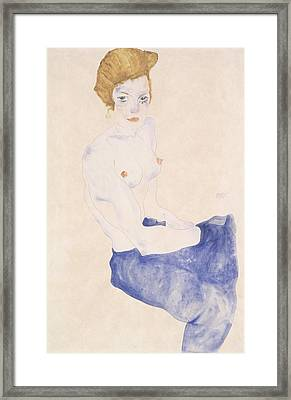 Seated Blue Nude, 1911 Framed Print by Egon Schiele