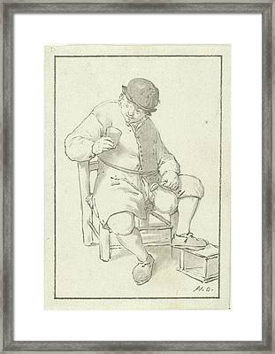 Seated Farmer With Pitcher, Print Maker Cornelis Ploos Van Framed Print by Cornelis Ploos Van Amstel And Adriaen Van Ostade