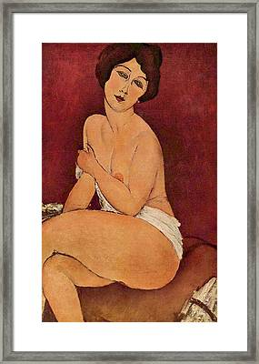 Seated Female Nude Framed Print by Amedeo Modigliani