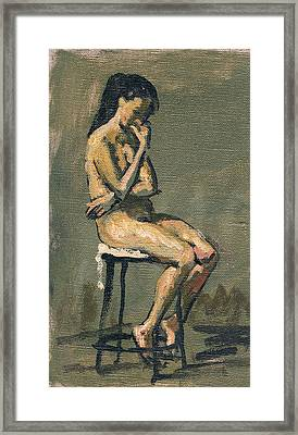 Seated Female Nude / Pensive Framed Print by Thor Wickstrom