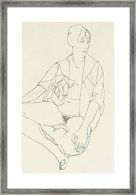 Seated Female Nude With Open Blouse Framed Print by Egon Schiele