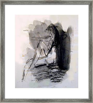 Seated Figure Ink Wash Framed Print by James Gallagher
