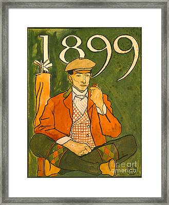 Seated Golfer 1899 Framed Print by Padre Art