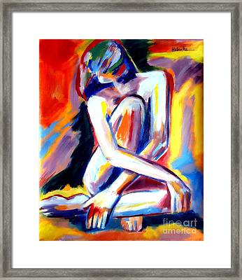 Framed Print featuring the painting Seated Lady by Helena Wierzbicki