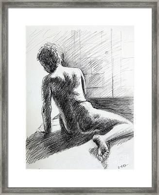 Seated Male Back Framed Print