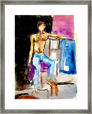 Seated Male Framed Print by James Gallagher