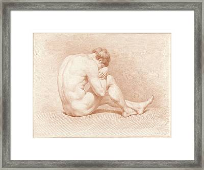 Seated Male Nude, Head On Knee Framed Print by Quint Lox