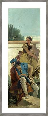 Seated Man Woman With Jar And Boy Framed Print by Giovanni Battista Tiepolo