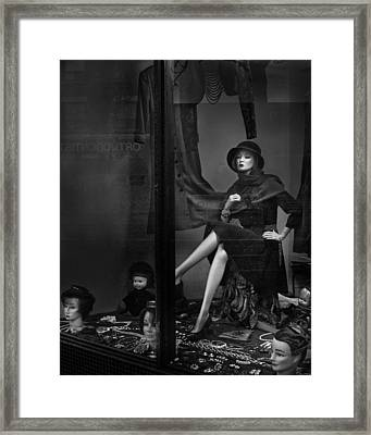 Seated Mannequin In Storefront Window Display Framed Print