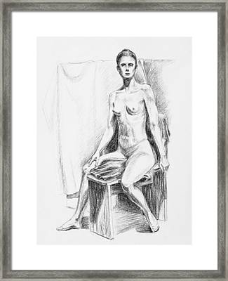 Seated Model Drawing  Framed Print