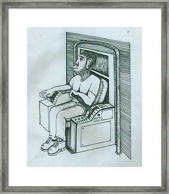 Seated Monkey Sketch Framed Print