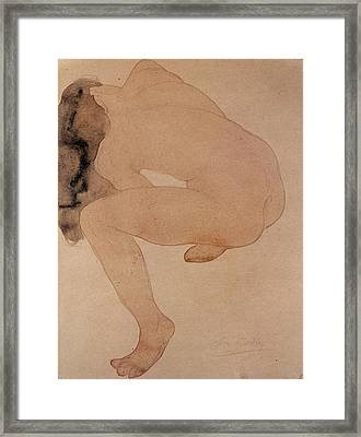 Seated Nude Bending Over Framed Print by Auguste Rodin