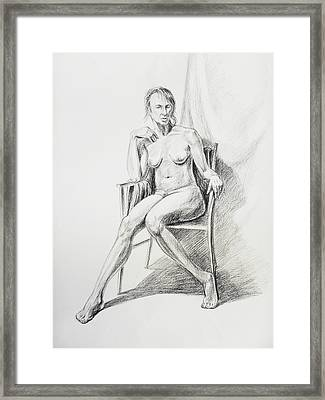 Seated Nude Model Study Framed Print by Irina Sztukowski