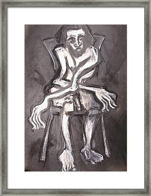 Seated Nude Old Man Framed Print