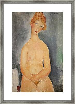 Seated Nude Woman Painting Framed Print by