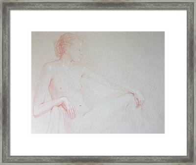 Seated Woman Framed Print by Deborah Dendler