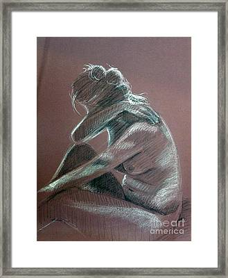 Seated Woman Side Light Framed Print