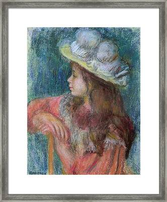 Seated Young Girl In A White Hat Framed Print by Pierre Auguste Renoir