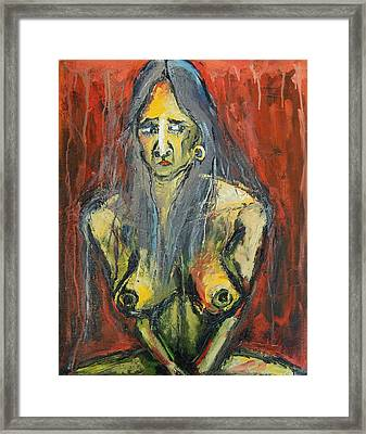 Seated Young Woman On A Stool Framed Print by Kenneth Agnello