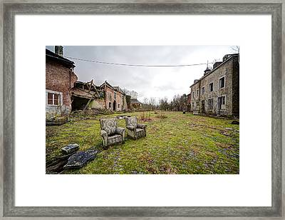 seats for two Abandoned places Framed Print