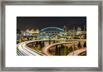 Seattle And Curved Road Light Trails Framed Print by Michael Lee