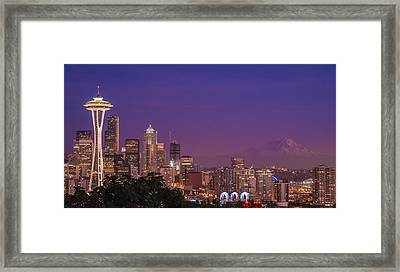 Seattle And Mt. Rainier After Dark - City Skyline Night Photograph Framed Print