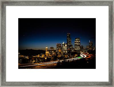 Seattle At Night Framed Print by Brian Xavier