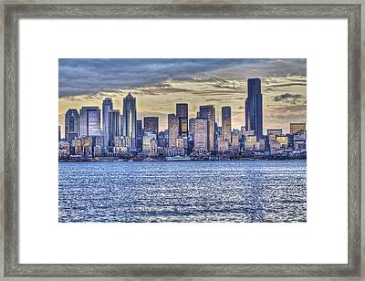 Seattle At Twilight From Alki Beach Framed Print
