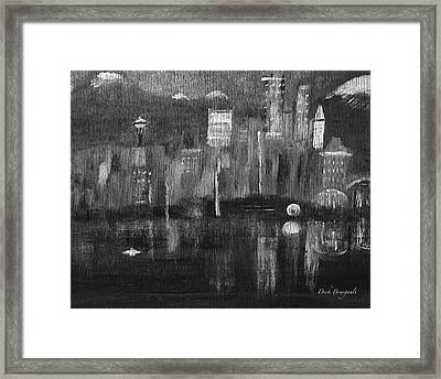 Seattle Black And White Framed Print by Dick Bourgault