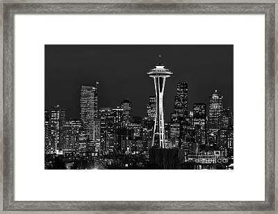 Seattle Black And White Framed Print by Peter Dang