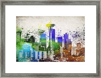 Seattle City Skyline Framed Print by Aged Pixel