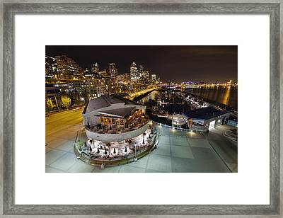 Framed Print featuring the photograph Seattle City Skyline And Marina At Night by JPLDesigns