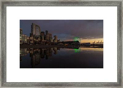 Seattle Cityscape And The Wheel Framed Print by Mike Reid