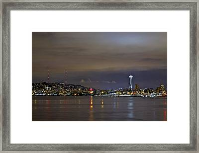 Seattle Cityscape At Night Framed Print